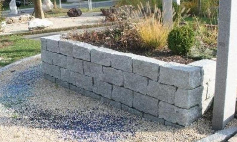 Granit Mauerstein 20x20x40 cm grau gespalten 2
