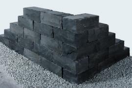 Basalt Klostermauerstein 15x20x40 cm schwarz