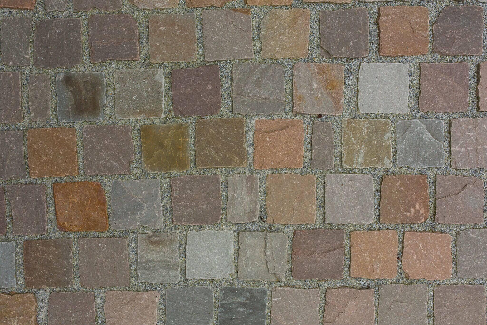 quarz-sandstein kleinpflaster 10x10x6-8 cm bunt