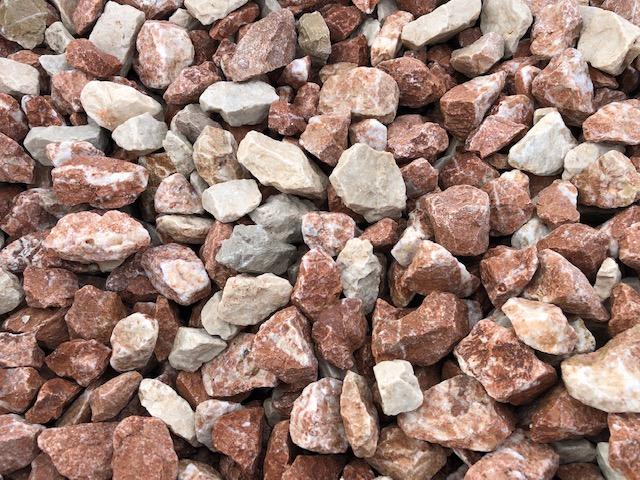 Ziersplitt Kalkstein Vanilla-Red 22-32 mm rötlich-bunt