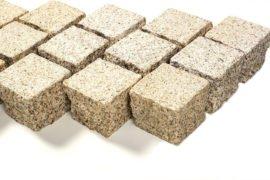 Granit Edelkleinpflaster 10x10x8 cm gelb-grau