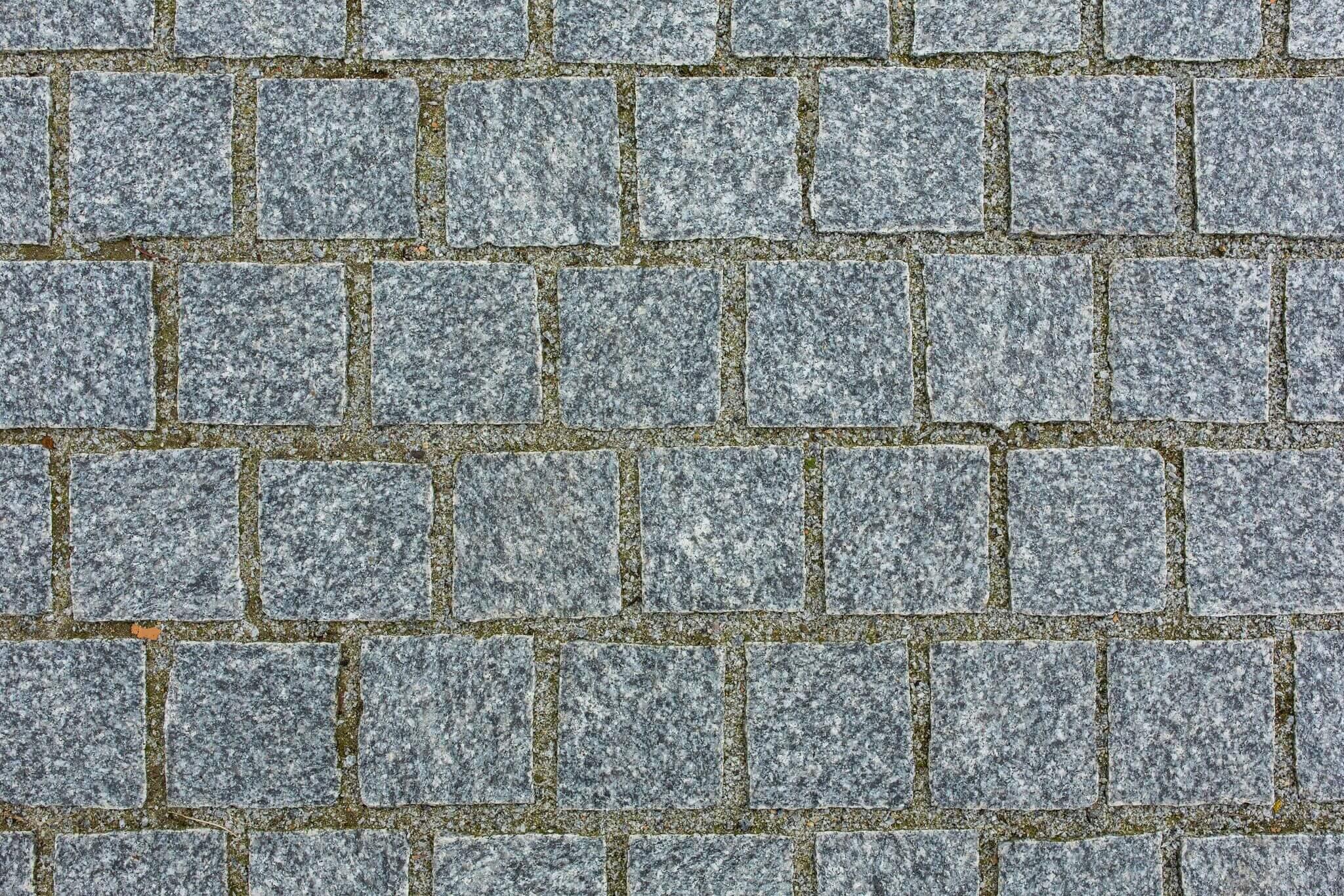 granit kleinpflaster hellgrau 10x10x8 cm gesägt geflammt