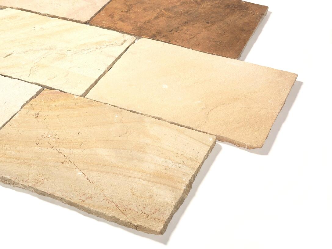 Quarz-Sandstein Terrassenplatten 40x60x2,5 cm mint-gelb-grünlich