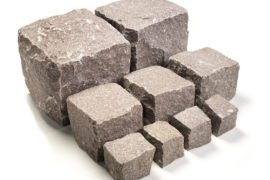 Neues Granit Mosaikpflaster 4-6 cm rötlich regelmäßig