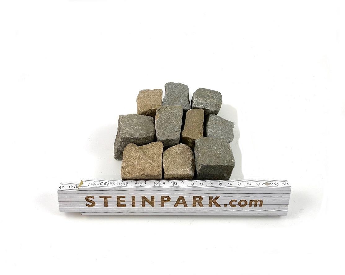 Gebrauchtes Sandstein Mosaikpflaster 3-6 cm gelb-grau