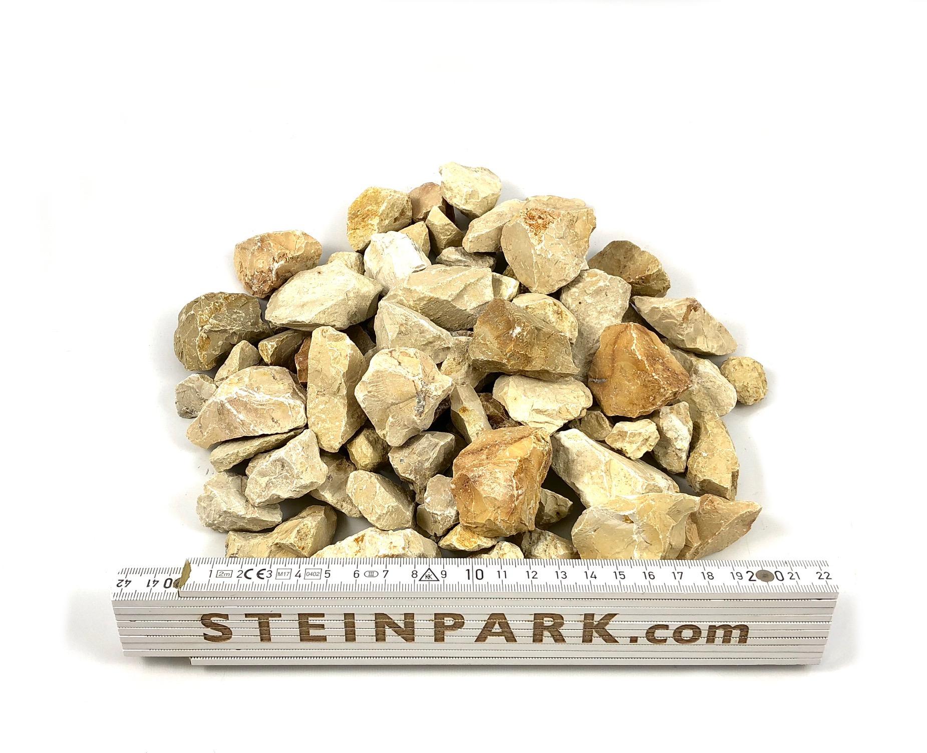 Ziersplitt Kalkstein Amarillo Caliza 16-32 mm gelb-grau