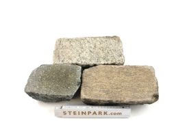 Edel Granit Pflasterplatte 4-6 cm rot-bunt regelmäßig