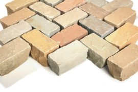 Neues Quarz-Sand Bauernpflaster 6x12x5-7 cm bunt
