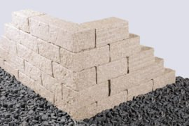 Granit Mauerstein 15x20x35 cm gelblich gespalten