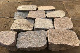 Edel Granit Pflasterplatte 12-14 cm rot-bunt regelmäßig