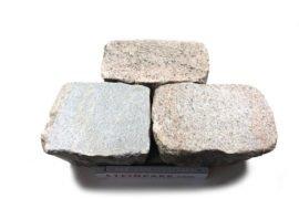 Edel Granit Pflasterplatte 12-13 cm rot-bunt regelmäßig