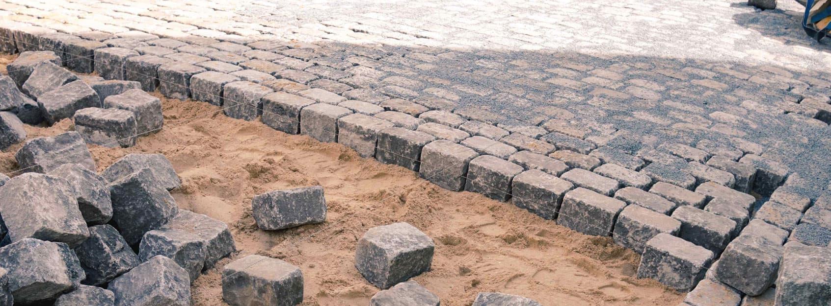 Großpflaster aus Granit, neu und gebraucht