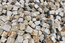 Neues Granit Kleinpflaster 8-11 cm Mittelkorn grau-gelb