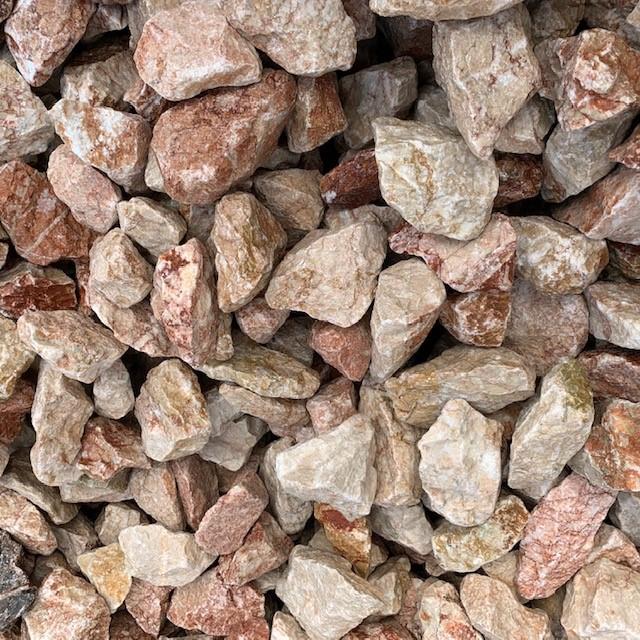 Gabionenstein Kalkstein Vanilla-Red 60-90 mm creme-rötlich