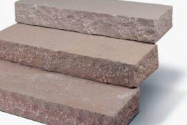 Quarz-Sandstein Blockstufe 15x35x100 cm rot-braun-bunt