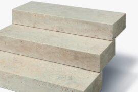 Travertin Blockstufe 15x35x100 cm creme-hell