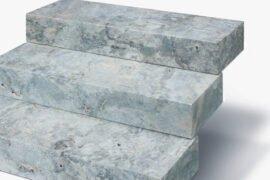 Travertin Blockstufe 15x35x100 cm silver