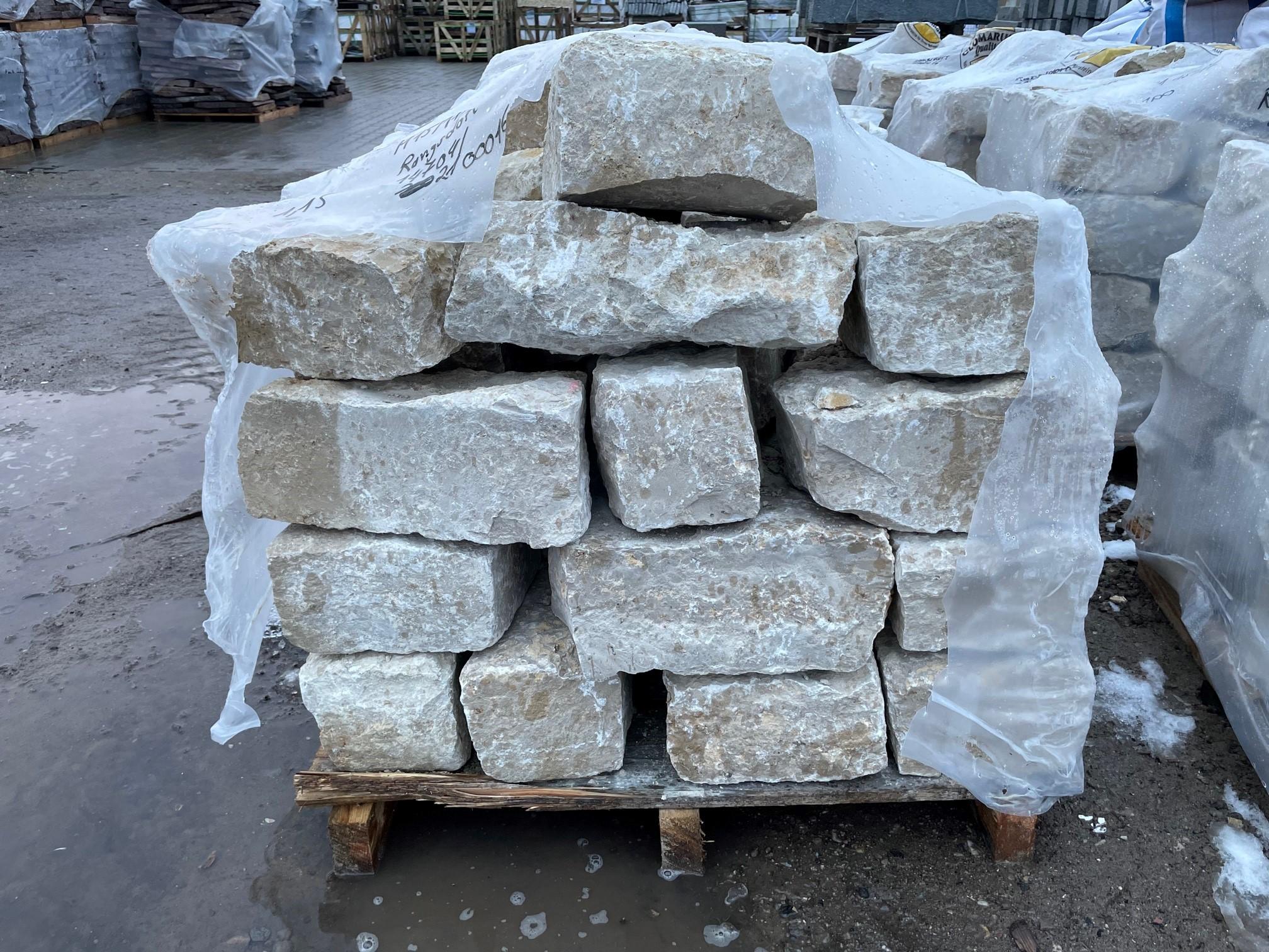 Kalkstein Mauerwerk Amarillo Caliza 15-20×20-30×20-50 cm
