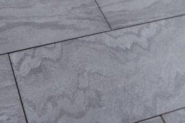 Keramik Terrassenplatte 80x40x2 cm Nero Wave anthrazit-gebändert